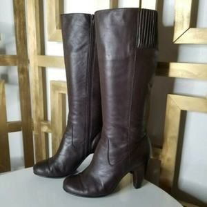 Sofft Tall Leather Heeled Boots Brown Round Toe 7